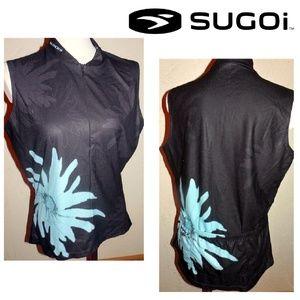 Sugoi NWOT Black Blue Flower Sport Knit Shirt